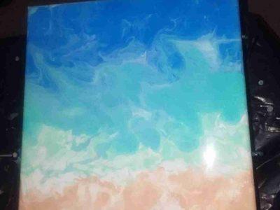 Beachy Pour Paint Canvas