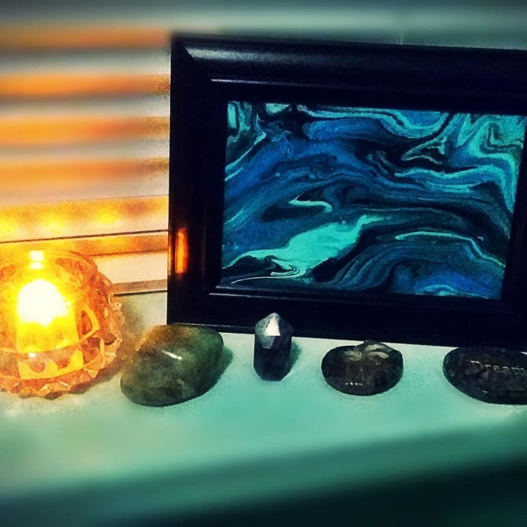 Framed Ocean Waves Pour With Crystals, Candle