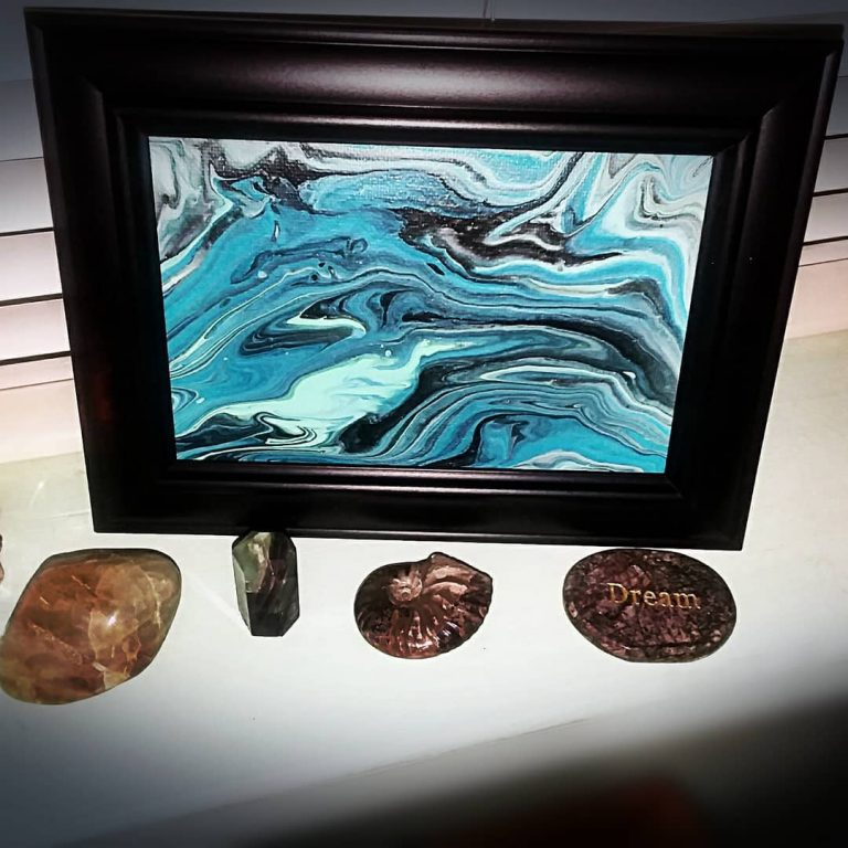 Framed Ocean Waves Pour With Crystals