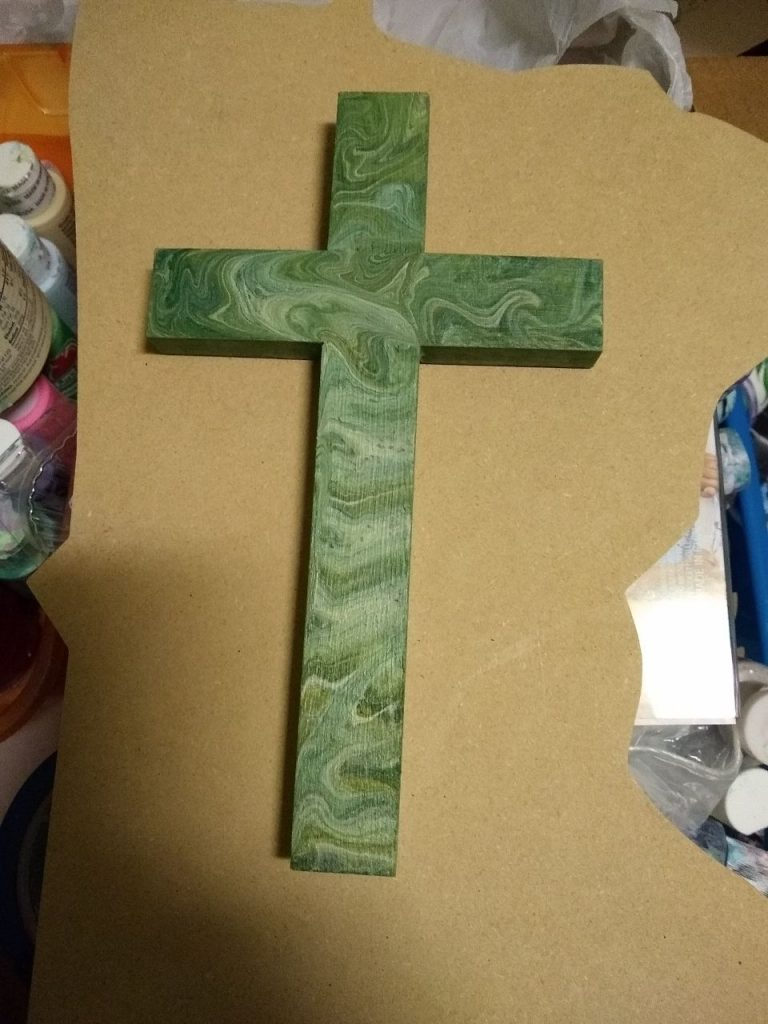 Green Pour Painted Wooden Cross