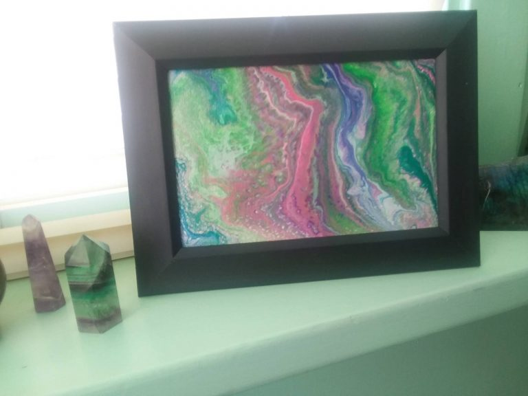 5x7 Framed Fluorite Inspired Pour Paint