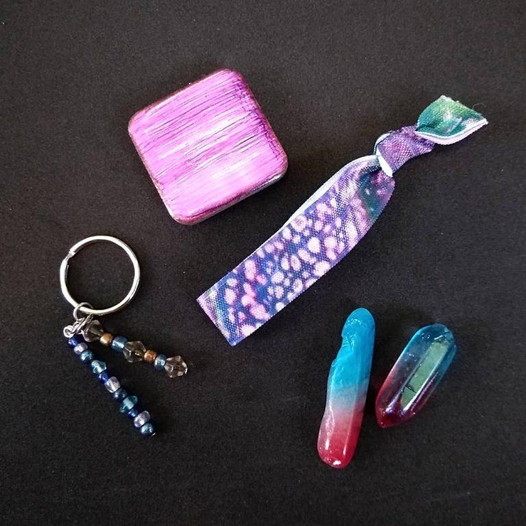 Tile Magnet, Hair Tie, Keychain & Quartz Bundle