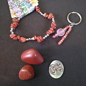 Goldstone Bracelet, Keychain, Ohm Coin & Tumble Bundle