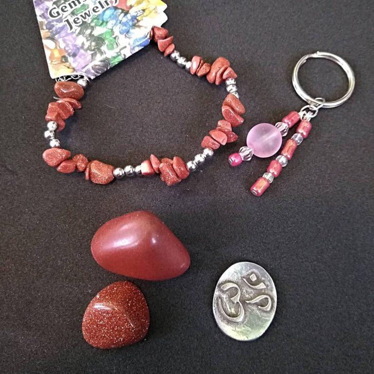 Goldstone Bracelet, Keychain, Ohm Coin & Tumble Bundle