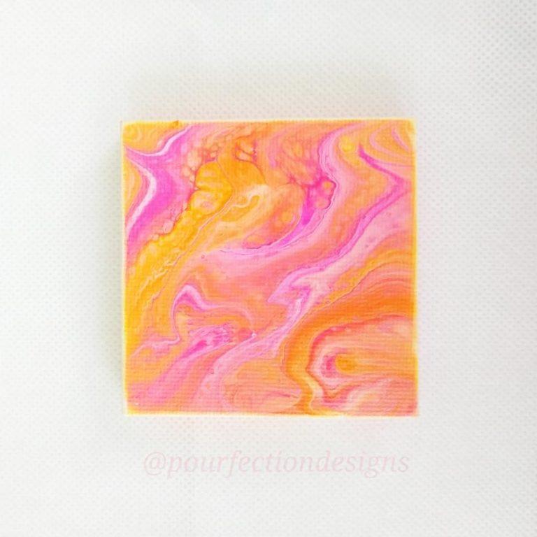 Mini Stretched Pour Paint Canvas Magnet