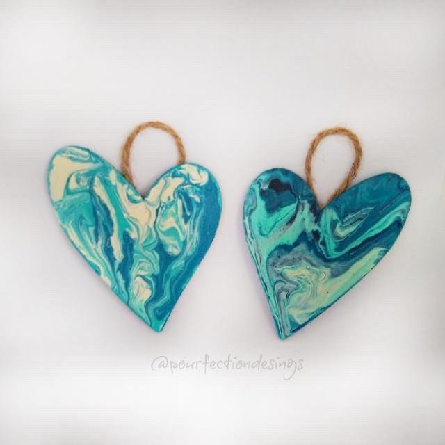Pour Paint Heart Ornaments