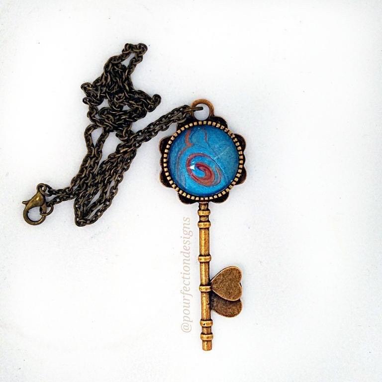 Copper Tone Pour Paint Key Necklace
