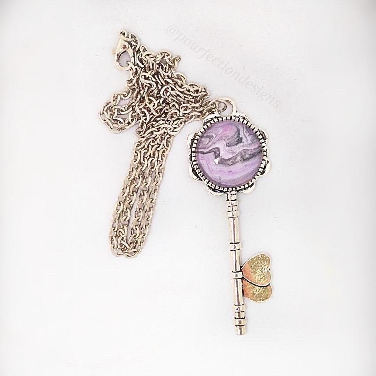 Silver Tone Pour Paint Key Necklace