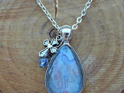 Teardrop Necklace With Cross & Blue Gem Charm