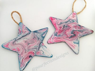 Set of Two..Red, White & Blue - Two wooden star pour paint ornaments.