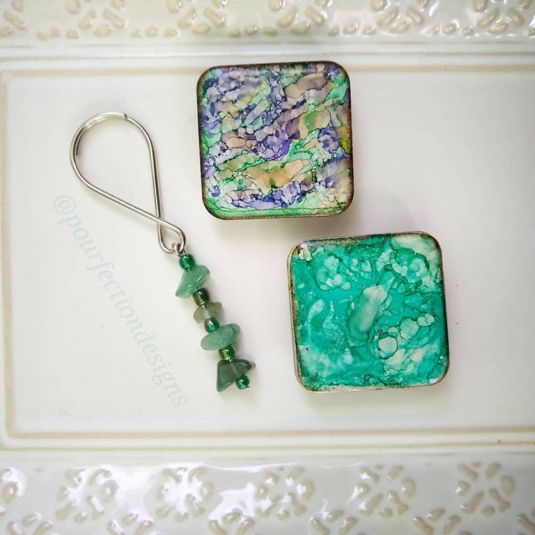 Alcohol Ink Tile Magnets and Handmade Keychain