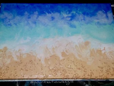 Beachy Pour Painting With Added Texture