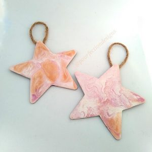 Pour Paint Wooden Star Ornaments