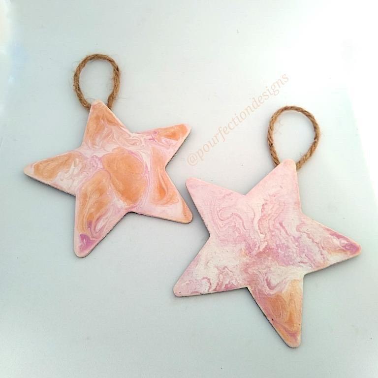 Pour Paint Wooden Star Ornaments