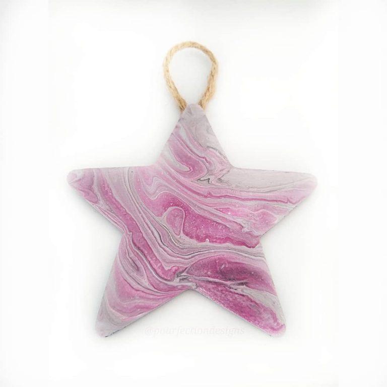 Purple Wooden Star Pour Paint Ornament