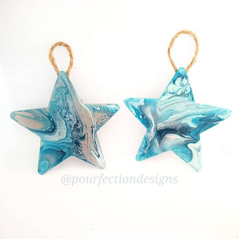 Set Of Two Wooden Star Pour Paint Ornaments