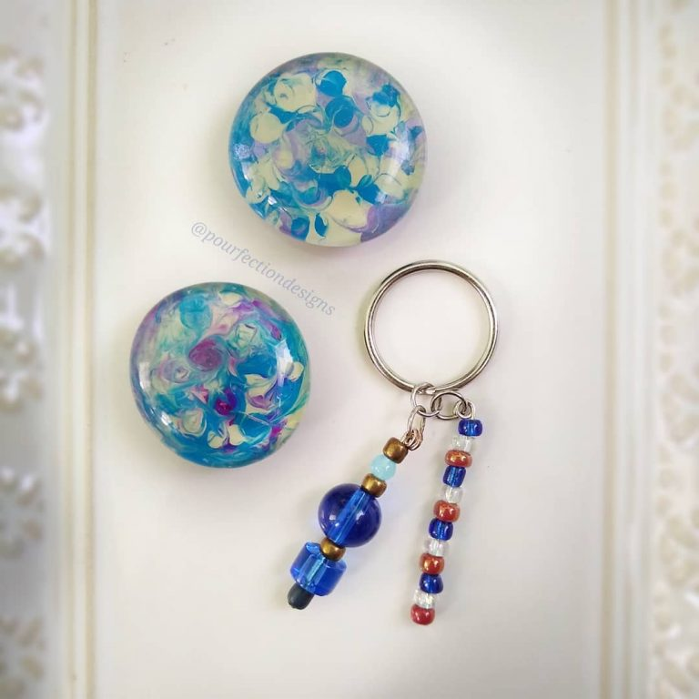 Two Blueish Glass Gem Mini Magnets & Handmade Keychain