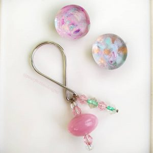 Two Pinkish Glass Gem Mini Magnets & Handmade Keychain