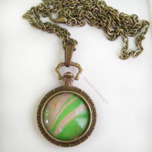 Vintage Brass Pocket Watch Style Pour Paint Skin Necklace