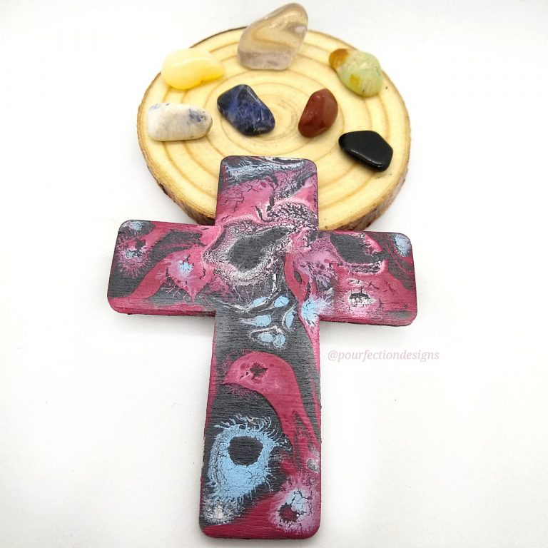 Small Wooden Black and Red Pour Paint Cross Magnet & 7 Polished Crystal Tumbles