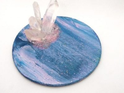 Acrylic Pour Paint Wooden Round Crystal Trinket/Ring Holder