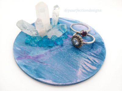 Blue and Purple Wooden Pour Paint and Crystal Trinket Tray