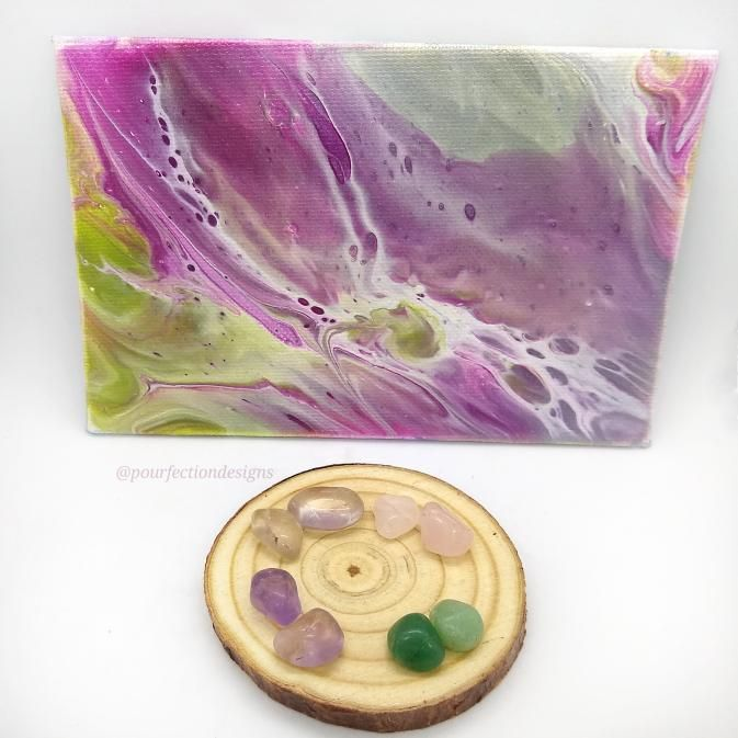 Green and Pink 4x6 Acrylic Pour Painting & 8 Polished Crystal Tumbles