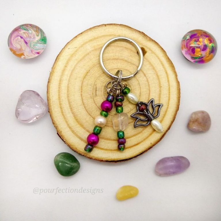 Lotus Keychain, Gem Magnets & Tumbles