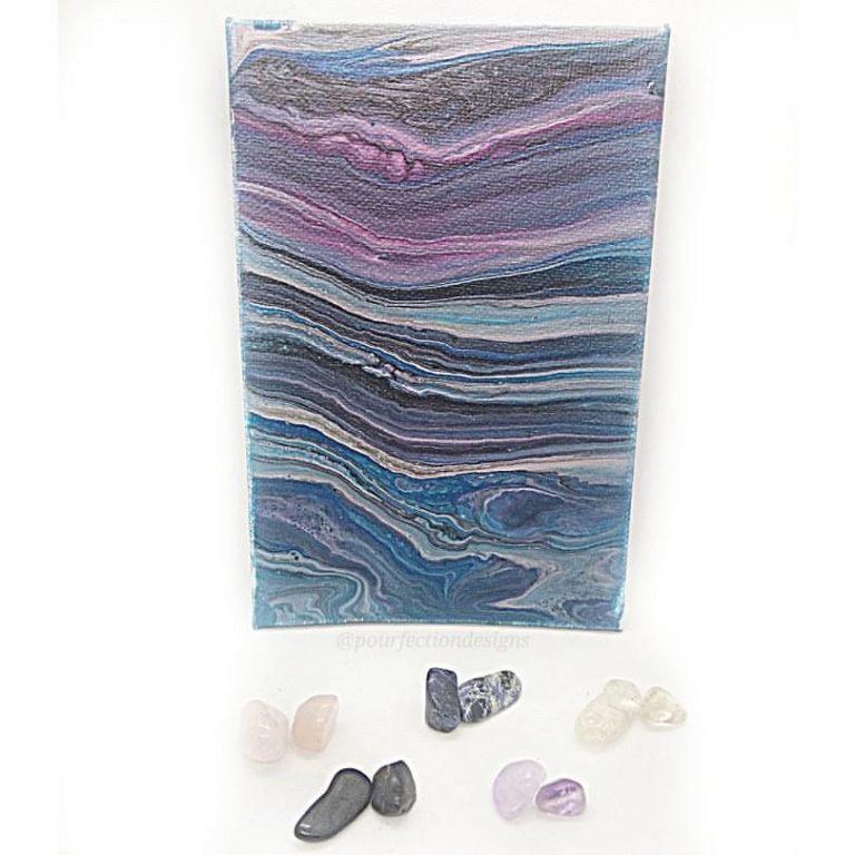 4x6 Blue Purple Flat CanvasPour With Tumbles