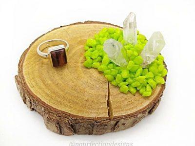 Green Rock Wooden Round Trinket Tray