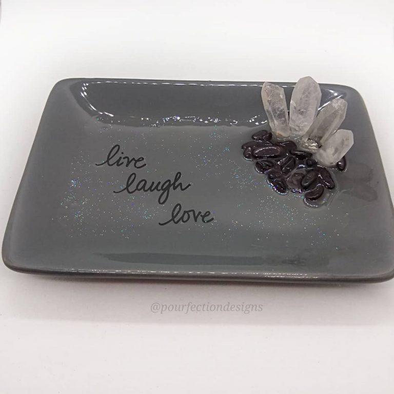 Live Laugh Love Grey Trinket