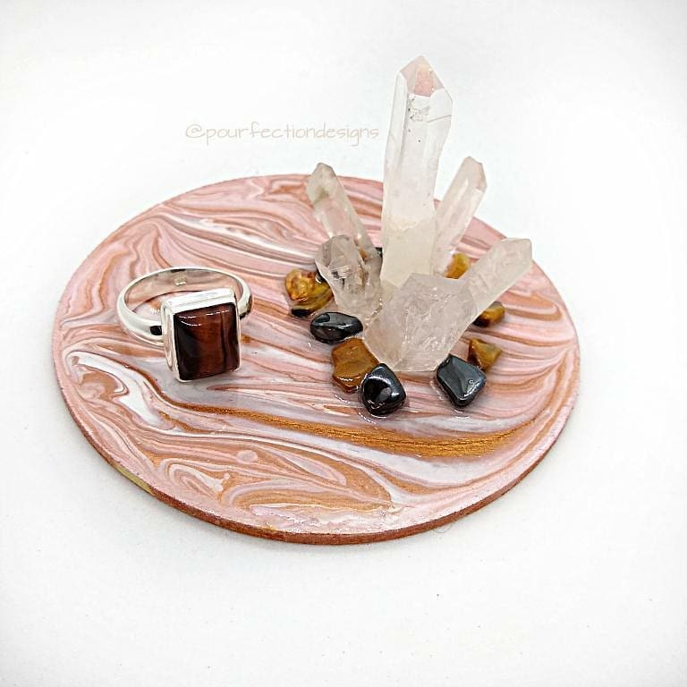 Pink, Copper Metalic Wood Pour Paint and Crystal Trinket Tray