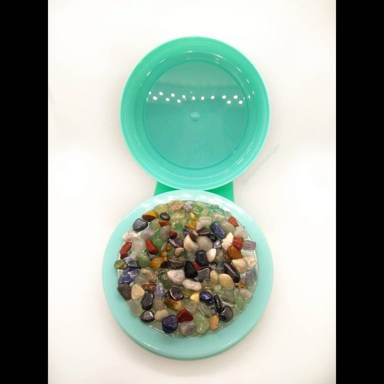 Turquoise Blue Resin Container