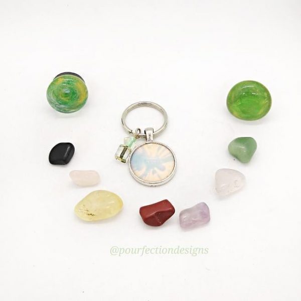 Alcohol Ink Keychain, Tumbles, and Magnet Bundle
