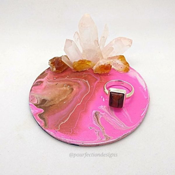 Pour Paint Wooden Round Trinket Tray Clear Quartz and Citrine