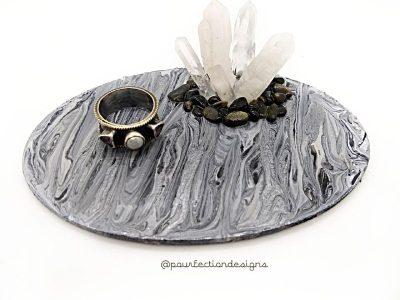 Pour Paint Trinket Tray Black Apr 28