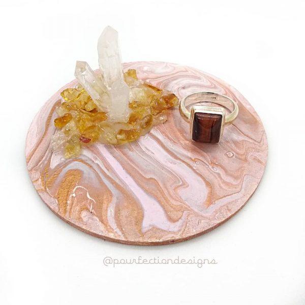 Pour Paint Trinket Tray Copper Apr28