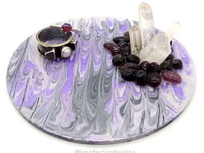 Pour Paint Trinket Tray Purple Apr 28