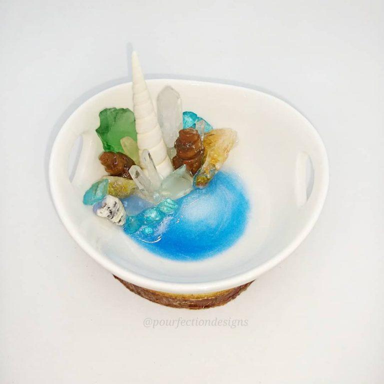 Sea Theme White Ceramic Trinket Dish