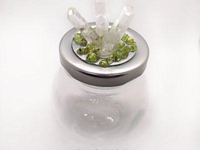 Silver Top Round Jar Quartz Points