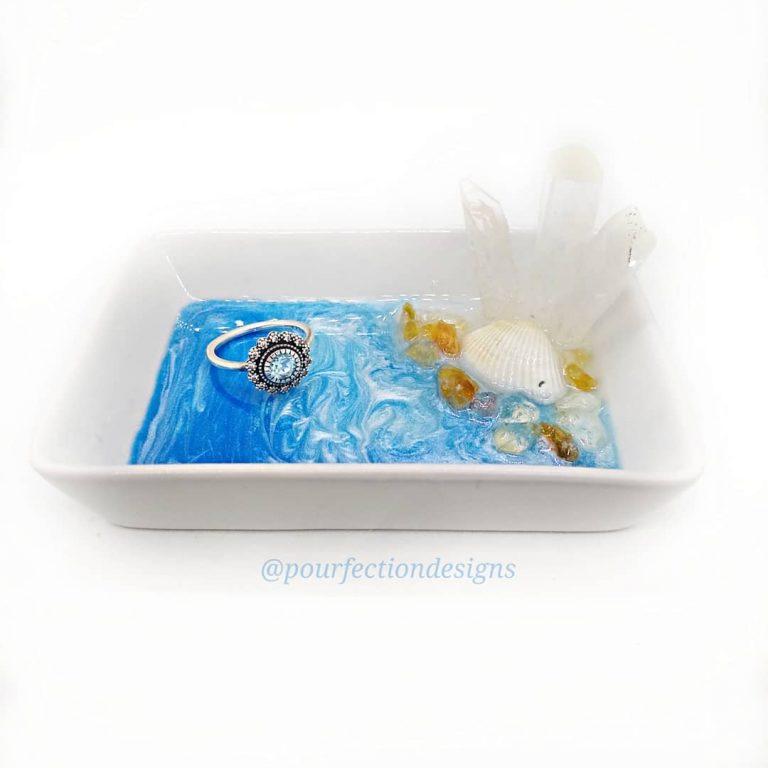 White Ocean Ceramic Trinket Dish