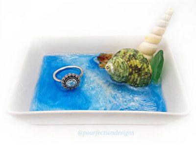 White Seashell Ceramic Trinket Dish