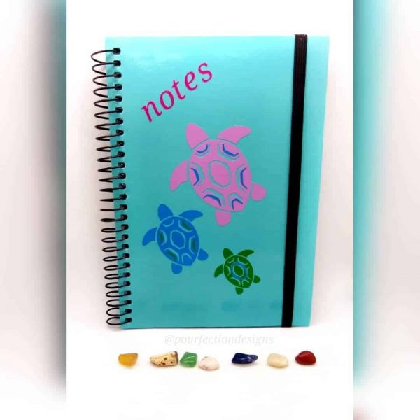 Aqua Blue Notebook/Journal with Turtle Decals