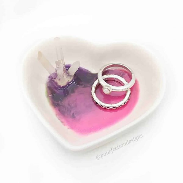 Ceramic Heart Crystal Resin Trinket Dish