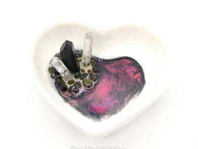 Ceramic Heart Resin Crystal Trinket Dish - Black Aura