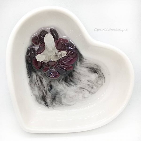 Ceramic Heart Resin Crystal Trinket Dish - Garnet