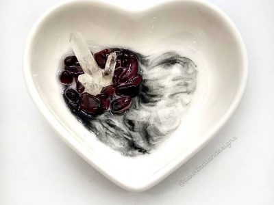 Ceramic Heart Resin Crystal Trinket Dish - Garnet