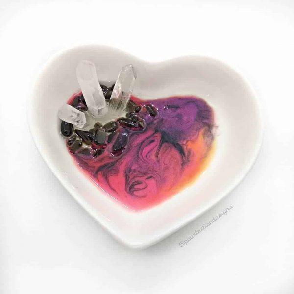 Ceramic Heart Resin Crystal Trinket Dish - Gold Sheen