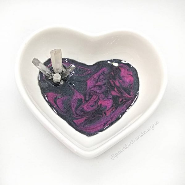 Ceramic Heart Resin Crystal Trinket Dish - Red/Black Resin