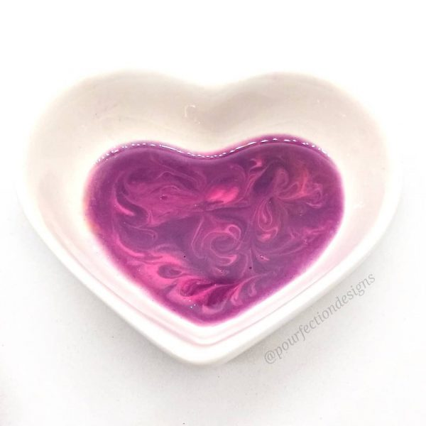 Ceramic Heart Trinket Bowl Pink Purple Resin